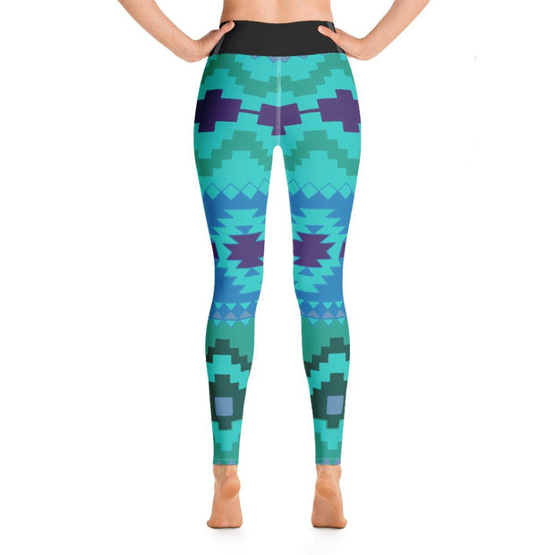 Aztec Pattern High Waist Om Symbol Green Yoga Pants Leggings - Yoga Leggings - Chakra Galaxy