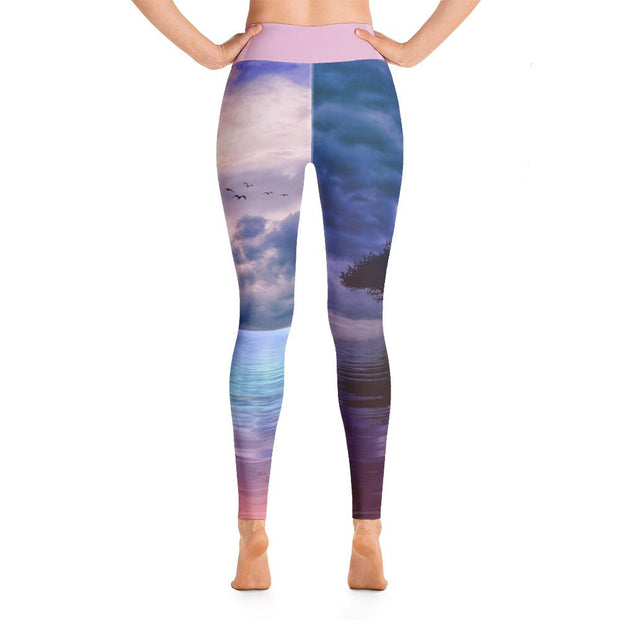 Beautiful Sunset By The Lake Purple High Waist Yoga Pants - Yoga Leggings - Chakra Galaxy
