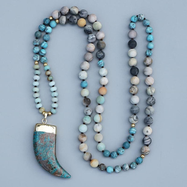 Blue Ocean Stone Pendant 108 Japamala Beads Necklace Amazonite - Chakra Necklace - Chakra Galaxy