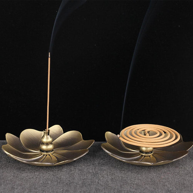 Bronze Alloy Lotus Censer Flower Shaped Plate Incense Burner Holder - Incense & Incense Burners - Chakra Galaxy