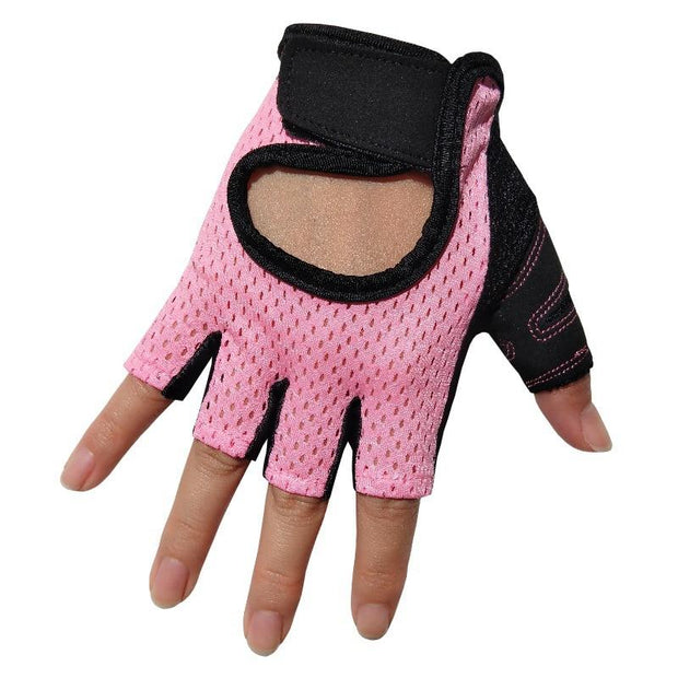 Charming Pink Half-Finger Yoga Gloves Ultra-light Microfiber - Yoga Gloves - Chakra Galaxy