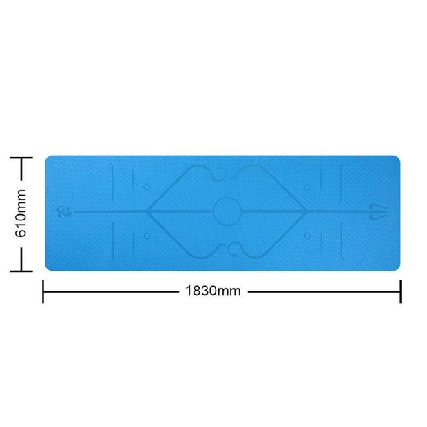 Cobalt Blue Fitness & Sports Yoga Mat with Position Line TPE - Yoga Mats - Chakra Galaxy