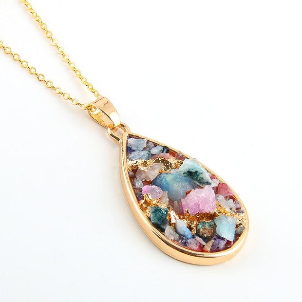 Colorful Pendulum Reiki Chakra Necklace Druzy Natural Crystals - Chakra Necklace - Chakra Galaxy