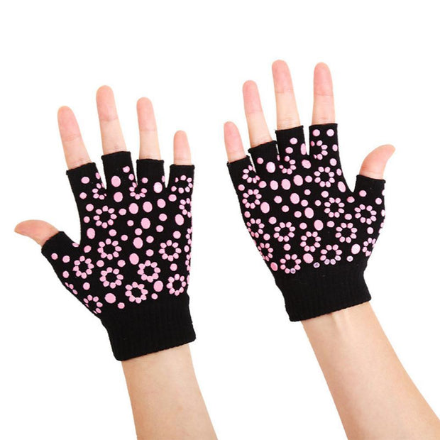 Dashing Jet Black with Fuchsia Pink Silica Gels Yoga Wrist Support Gloves - Yoga Gloves - Chakra Galaxy