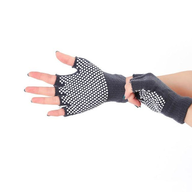 Dexterous Dark Gray with White Silica Gels Cotton Yoga Gloves - Yoga Gloves - Chakra Galaxy