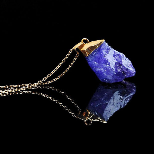 Druzy Quartz Natural Irregular Stone Crystal Chakra Necklace - Chakra Necklace - Chakra Galaxy