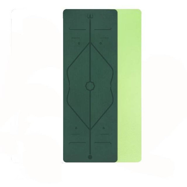 Durable Verdant Green Yoga Mat with Position Lines for Hatha Yoga TPE - Yoga Mats - Chakra Galaxy