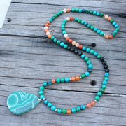 Dyed Azurite & Orange Onyx Chakra Necklace 108 Mala Beads 8MM - Chakra Necklace - Chakra Galaxy