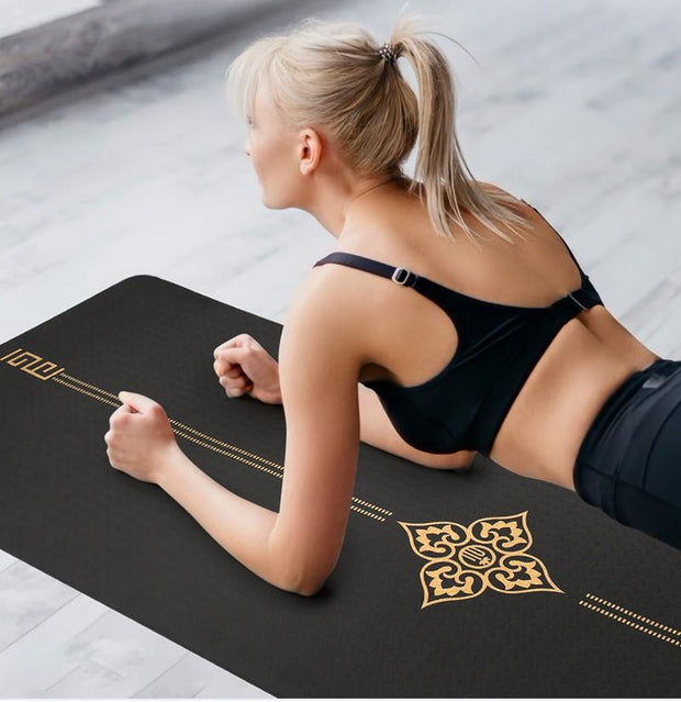 Elegant Jade Black Lotus Eco-Friendly Yoga Workout Mat + Free Bag - Yoga Mats - Chakra Galaxy