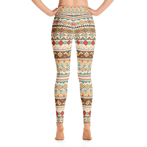Ethnic Boho Style High Waist Pattern Yoga Pants Leggings - Yoga Leggings - Chakra Galaxy