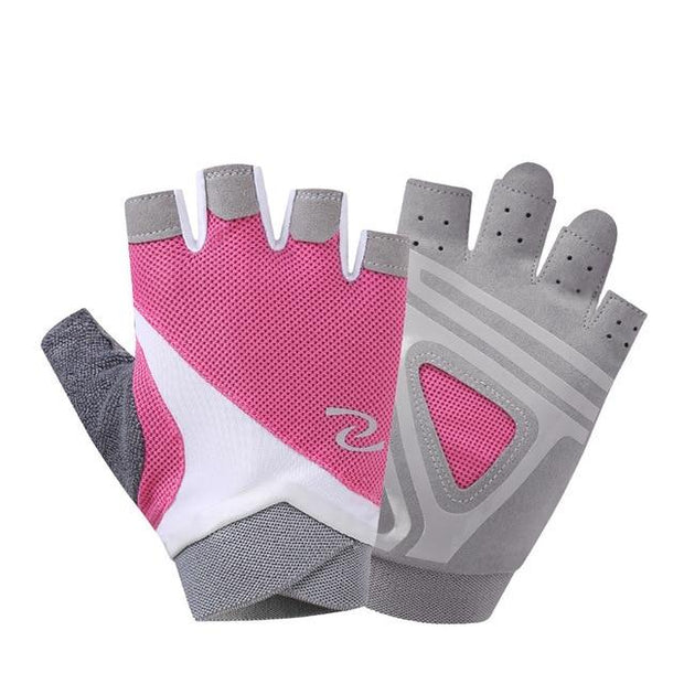 Flamingo Pink Half-Finger Superfine Fiber Yoga Gloves w/ Silica Gels - Yoga Gloves - Chakra Galaxy