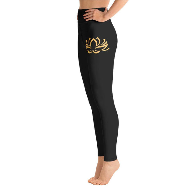 Golden Lotus Flower High Waist Leggings Black Yoga Pants - Yoga Leggings - Chakra Galaxy