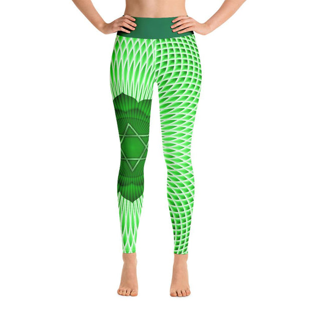 Green Anahata Leggings Heart Chakra High Waist Yoga Pants - Yoga Leggings - Chakra Galaxy