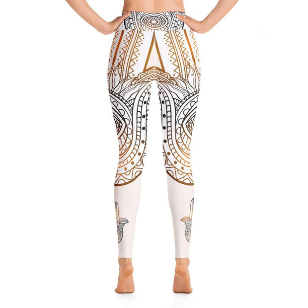 Hamsa Hand Ethnic Pattern Yoga Pants Beige High Waist Leggings - Yoga Leggings - Chakra Galaxy