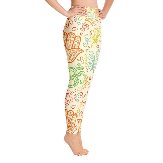 Hamsa Hand Pattern High Waist Yoga Pants Yellow Leggings - Yoga Leggings - Chakra Galaxy