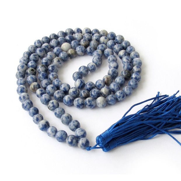 Handmade Blue Kyanite Veins Stone Necklace 108 Mala Beads 8mm - Chakra Necklace - Chakra Galaxy