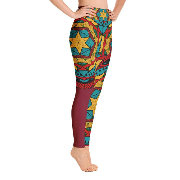 High Waist Red Artistic Mandala Design Yoga Pants Leggings - Yoga Leggings - Chakra Galaxy
