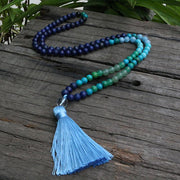Lapis Lazuli & Aventurine Japamala 108 Beads Prayer Necklace 8mm - Chakra Necklace - Chakra Galaxy