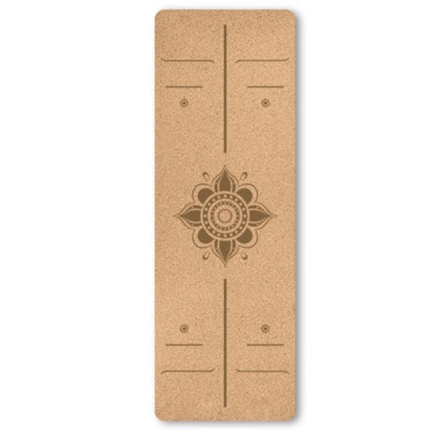 Lotus Flower Natural Cork TPE Non-Slip Yoga Mat With Position Line - Yoga Mats - Chakra Galaxy