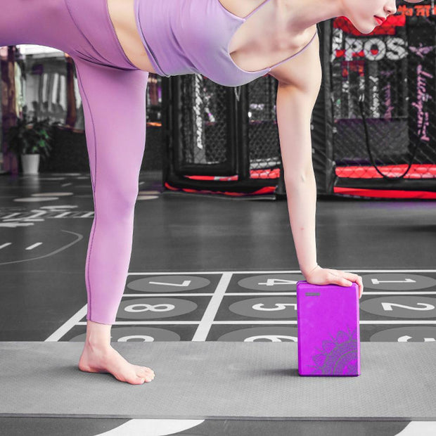 Lotus Mandala Design Purple EVA Soft Yoga Pilates Workout Brick - Yoga Blocks - Chakra Galaxy
