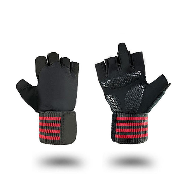 Midnight Black Anti-Slip Yoga Workout Gloves with Crimson Red Strap - Yoga Gloves - Chakra Galaxy