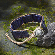 Midnight Blue Imperial Jasper Tube Beads Leather Wrap Chakra Bracelet - Charm Bracelets - Chakra Galaxy