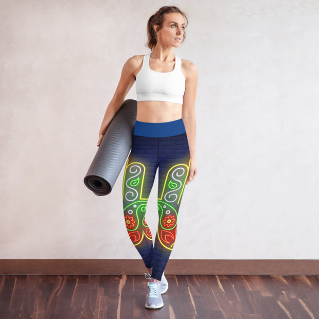 Neon Color Hamsa Hand High Waist Leggings Blue Yoga Pants