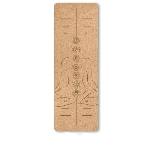 Natural Cork Seven Chakra Non-Slip TPE Yoga Mat With Alignment Lines - Yoga Mats - Chakra Galaxy