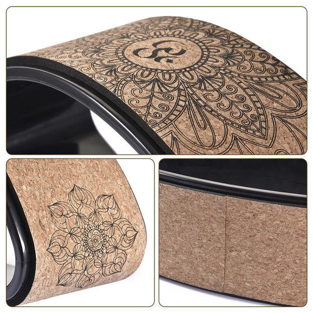Natural Cork TPE Chakra Mandala Body Yoga Half Wheel Prop - Yoga Wheels - Chakra Galaxy