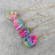 Natural Crystal Chakra Necklace Rock Colorful Stone Quartz Pendant - Chakra Necklace - Chakra Galaxy