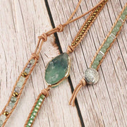 Natural Green Fluorite Aventurine Bead Leather Wrap Chakra Bracelet - Charm Bracelets - Chakra Galaxy