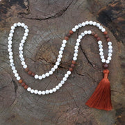 Natural Howlite & Antique Onyx Stone 108 Mala Beads Chakra Necklace 8MM - Chakra Necklace - Chakra Galaxy