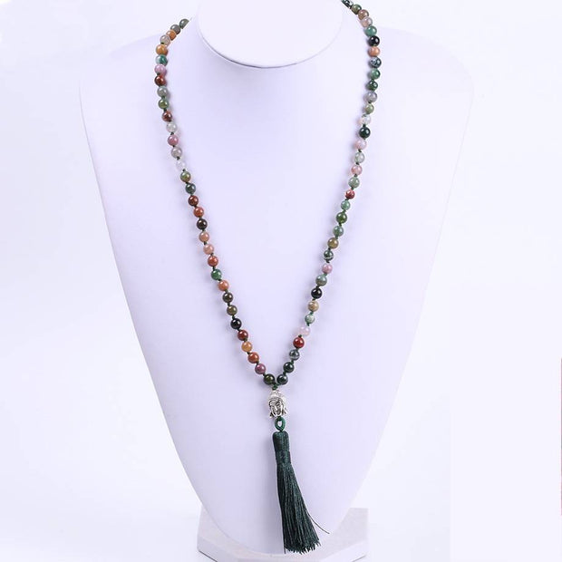 Indian Agate Marquise Necklace Antique Soocho Jade Necklace Indian Agate Necklace Birthday Mother/'s Day Gift Earth Tones Necklace