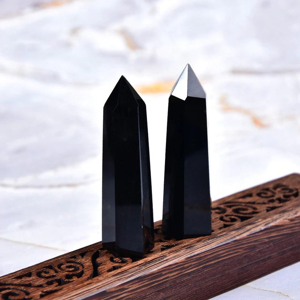 Natural Obsidian Rock Hexagon Crystal Point Mineral Ornament Healing Wand - Chakra Stones - Chakra Galaxy