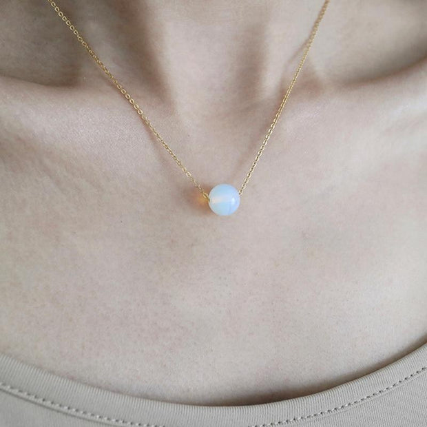 Natural Stone 8mm Opalite Chakra Necklace Gold Chain for Women - Chakra Necklace - Chakra Galaxy