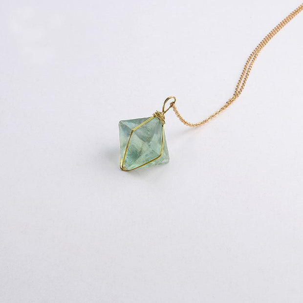 Natural Stone Gold Wire Wrapped Octahedron Green Fluorite Chakra Necklace - Chakra Necklace - Chakra Galaxy