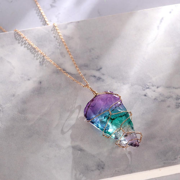 Natural Stone Rainbow Quartz Crystal Chakra Necklace Gold Chain - Chakra Necklace - Chakra Galaxy