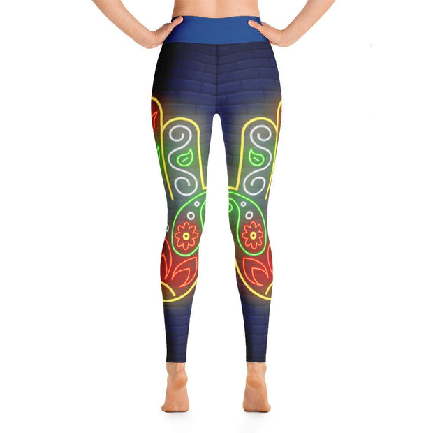 Neon Color Hamsa Hand High Waist Leggings Blue Yoga Pants - Yoga Leggings - Chakra Galaxy
