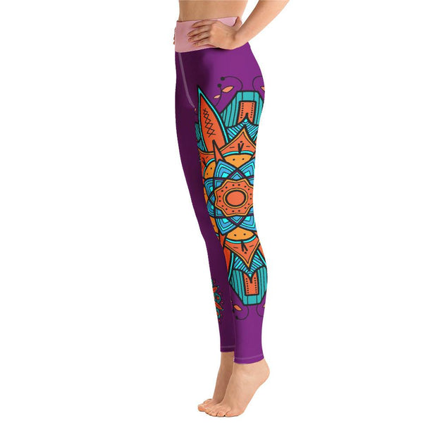 Orange And Teal Mandala High Waist Purple Yoga Pants Leggings - Yoga Leggings - Chakra Galaxy
