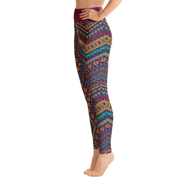 Pink Bohemian Criss Cross Aztec Pattern High Waist Yoga Pants - Chakra Galaxy