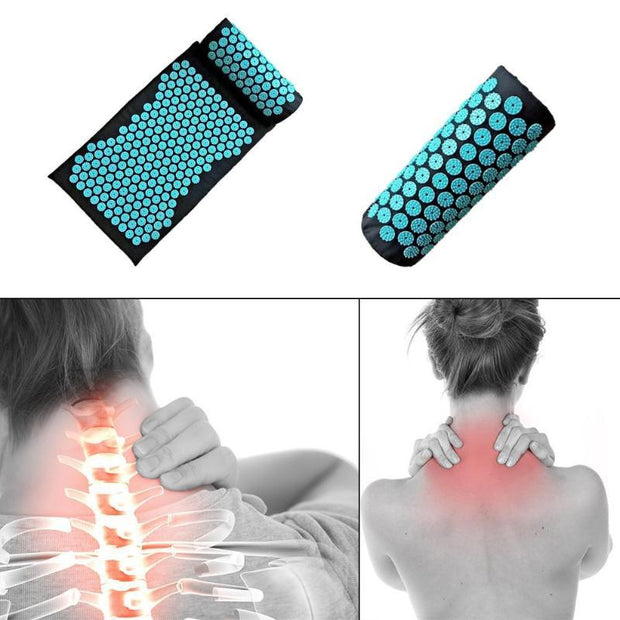 Pitch Black Acupressure Massage Yoga Mat with Turquoise Lotus Spikes - Yoga Mats - Chakra Galaxy