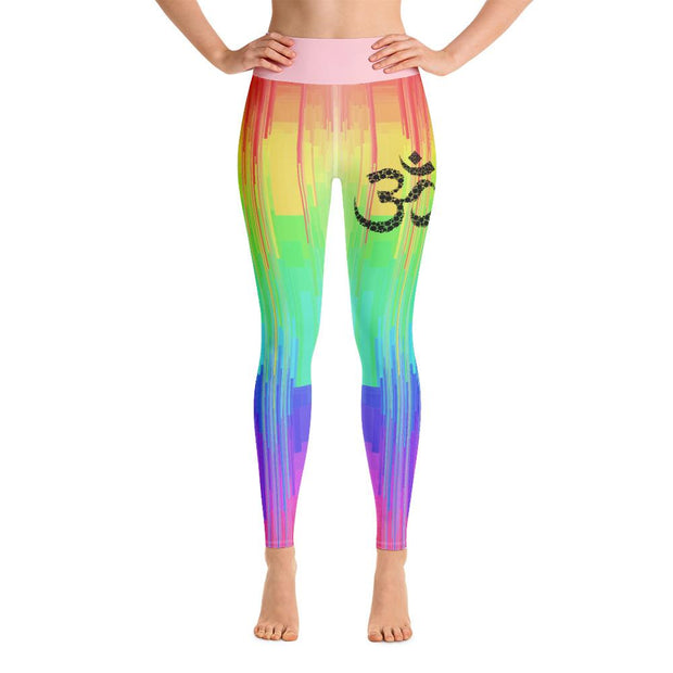 Rainbow Drip Design Om Symbol High Waist Yoga Pants Leggings - Yoga Leggings - Chakra Galaxy