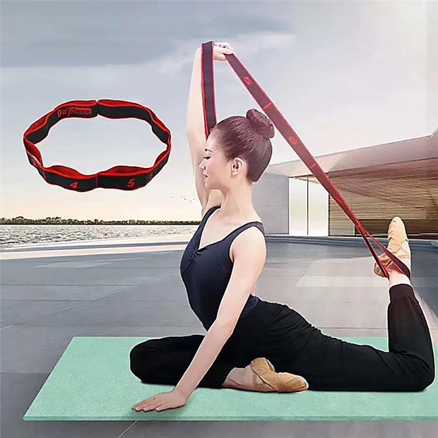 Scarlet Red & Black Yoga Workout Strap w/ 8 Segments for Dynamic Stretches - Yoga Straps - Chakra Galaxy