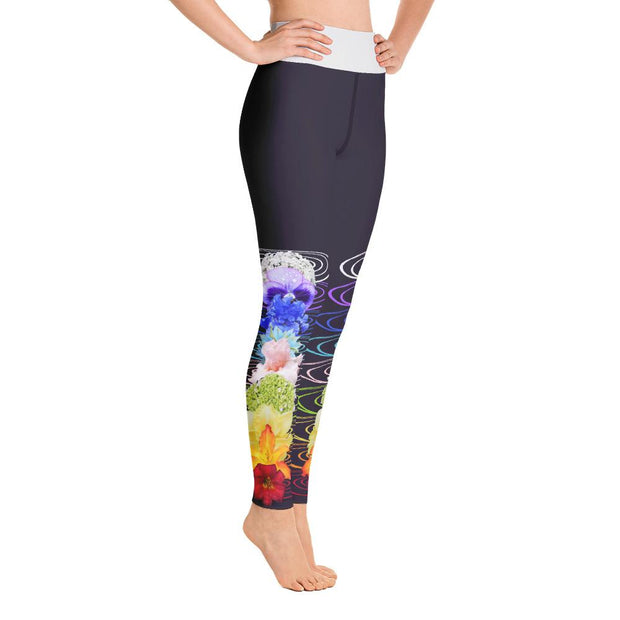Seven Chakra Flowers High Waist Design Yoga Pants Leggings - Yoga Leggings - Chakra Galaxy
