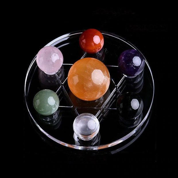 Seven Natural Crystal Mineral Balls David Star Guardian Chakra Ornament - Chakra Stones - Chakra Galaxy