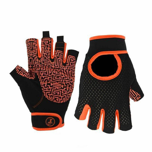 Short Strap Carrot Orange Yoga Workout Gloves for Wrist Support - Yoga Gloves - Chakra Galaxy