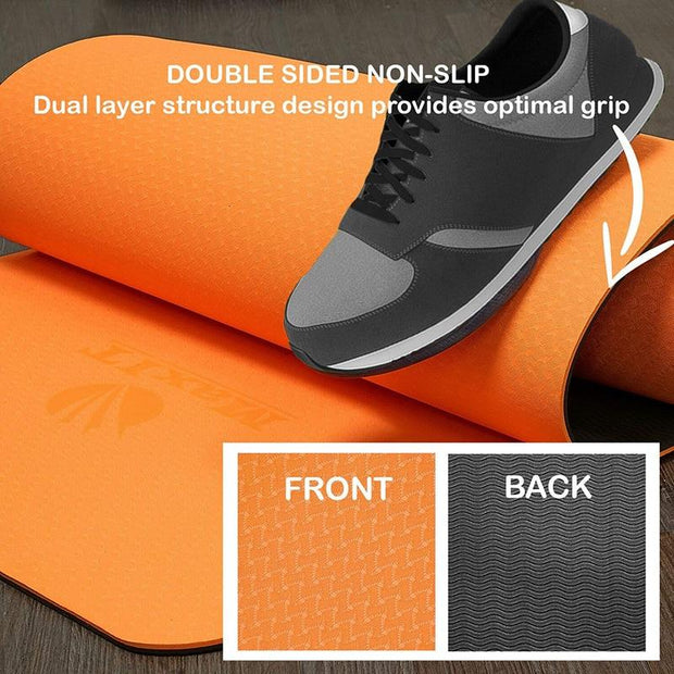 Slick Vibrant Orange Non-Slip Travel Yoga Mat for Pilates Exercise TPE - Yoga Mats - Chakra Galaxy