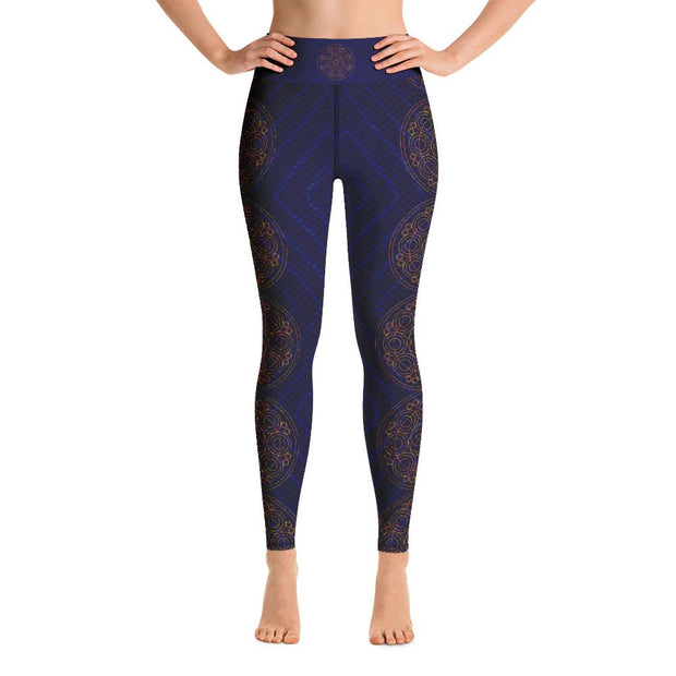 Snakeskin Circle Mandala Pattern High Waist Yoga Pants Leggings - Yoga Leggings - Chakra Galaxy