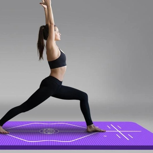 Spacious Princely Purple Hot Yoga Mat with Position Lines NBR - Yoga Mats - Chakra Galaxy
