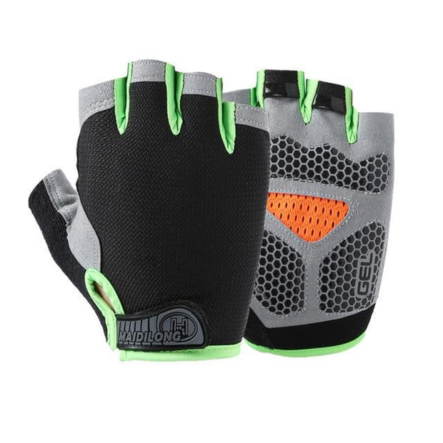Striking Obsidian Black with Lime Green Yoga Gloves with Silica Gels - Yoga Gloves - Chakra Galaxy